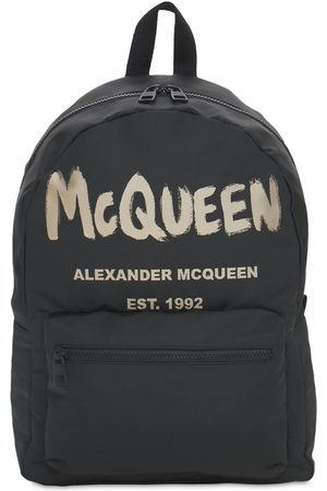 Alexander McQueen Men Rucksacks - New Mcqueen Graffiti Nylon Backpack