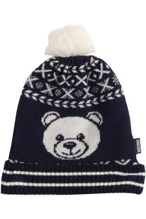 Moschino Girls Beanies - Jacquard Wool Blend Knit Beanie Hat