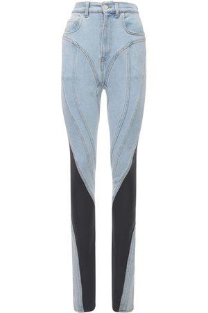 MUGLER High Waist Stretch Denim & Jersey Jeans