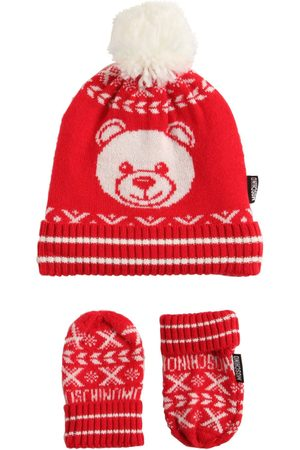 Moschino Jacquard Wool Blend Knit Hat & Gloves