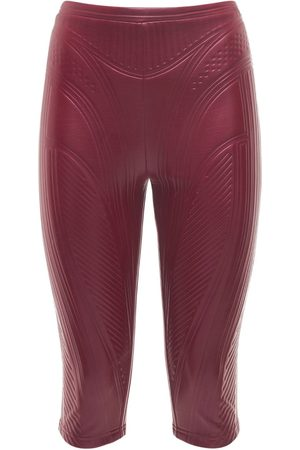 MUGLER Women Trousers - Embossed Shiny Jersey Biker Pants