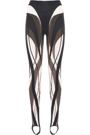 MUGLER Shiny & Sheer Tulle Leggings