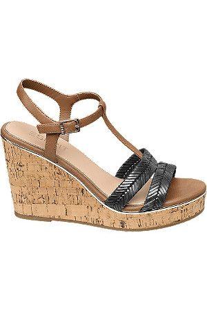Esprit Women Sandals - Black and Tan Wedge Sandals