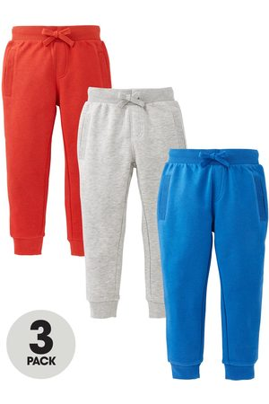 Very Boys Essential 3 Pack Joggers - Red, Blue & Grey