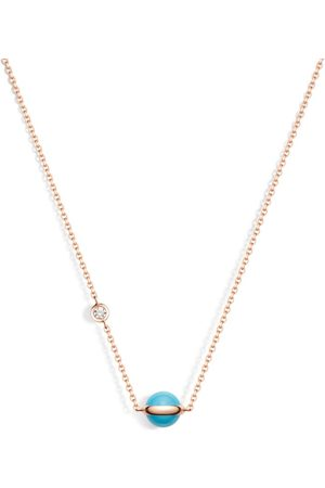 PIAGET Rose Gold, Turquoise Bead and White Diamond Possession Pendant Necklace