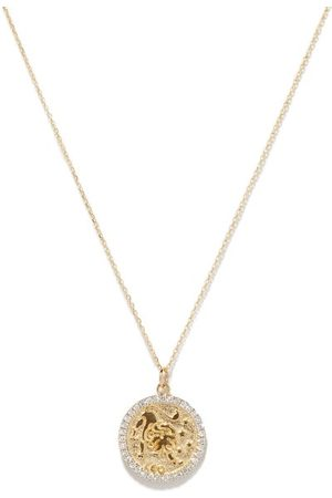 Mateo Women Necklaces - Leo Large Diamond & 14kt Zodiac Necklace - Womens