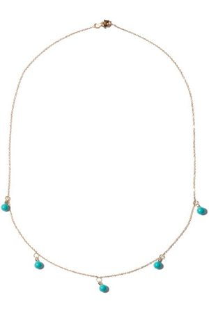 Mateo Women Necklaces - Five Dot Diamond, Turquoise & 14kt Gold Necklace - Womens