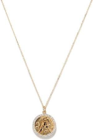 Mateo Women Necklaces - Aquarius Large Diamond & 14kt Zodiac Necklace - Womens