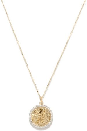 Mateo Virgo Large Diamond & 14kt Zodiac Necklace - Womens