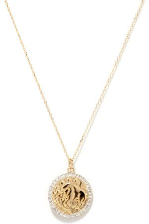 Mateo Women Necklaces - Taurus Large Diamond & 14kt Zodiac Necklace - Womens
