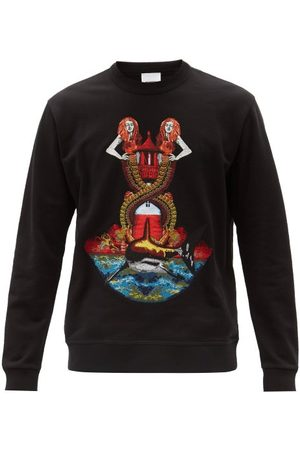 Burberry Men Sweatshirts - Mermaid-embroidered Cotton-jersey Sweatshirt - Mens - Multi