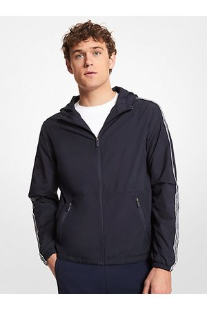 Michael Kors Jackets - MK Logo Tape Packable Hooded Jacket - Drk Midnight - Michael Kors