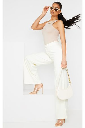 PRETTYLITTLETHING Cream Woven Tailored Wide Leg Trousers
