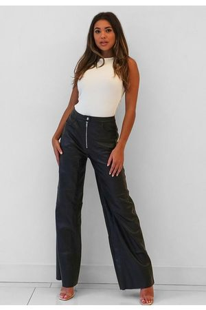 Missguided Premium Faux Leather Wide Leg Trousers