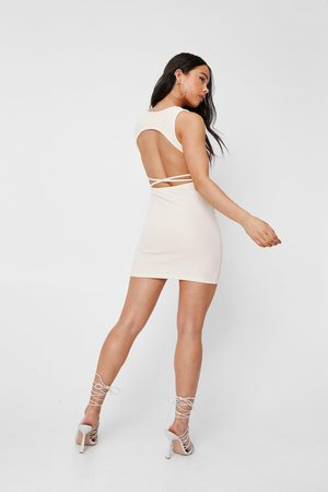 NASTY GAL Women Bodycon Dresses - Womens Petite Ribbed Open Back Mini Dress