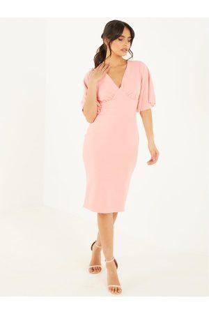 Quiz Women Midi Dresses - Crepe Angel Sleeve Midi Dress