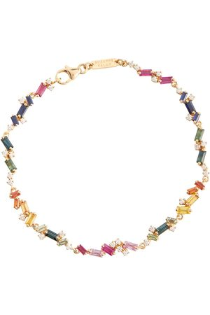 Suzanne Kalan Fireworks 18kt yellow bracelet with diamonds and sapphires