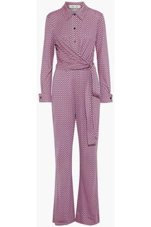 Diane von Furstenberg Woman Michele Wrap-effect Printed Silk-jersey Jumpsuit Bubblegum Size 10
