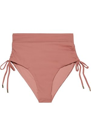 Melissa Odabash Woman Thailand Ruched Ribbed High-rise Bikini Briefs Antique Rose Size 38
