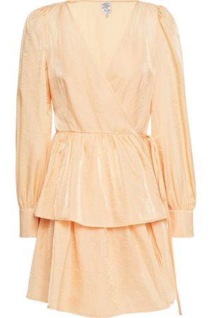 Baum und Pferdgarten Woman Tiered Wrap-effect Moire Mini Dress Peach Size 34