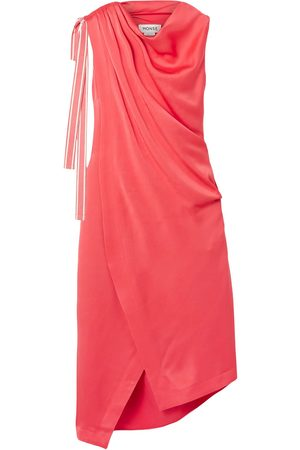 MONSE Woman Asymmetric Satin-crepe Dress Coral Size 6