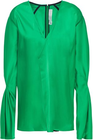 Victoria Beckham Woman Pleated Satin Blouse Size 10