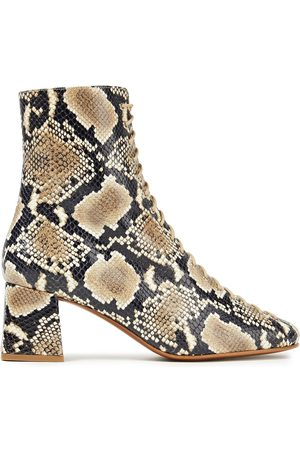 By Far Woman Becca Snake-effect Leather Ankle Boots Animal Print Size 40