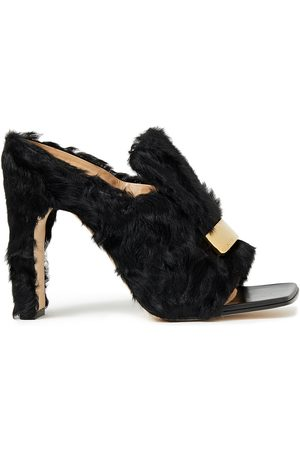 Sergio Rossi Woman Embellished Shearling Mules Size 39.5