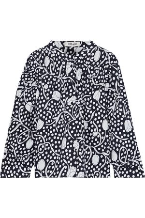 Diane von Furstenberg Woman Britton Gathered Printed Cotton-poplin Blouse Midnight Size 14