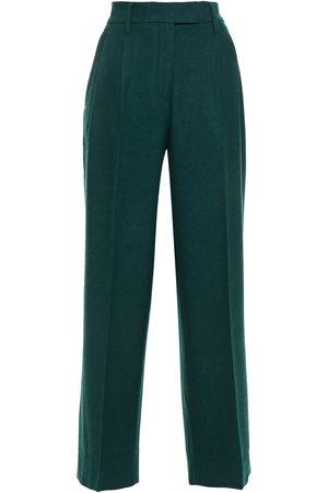 REMAIN Birger Christensen Woman Camino Wool-blend Wide-leg Pants Emerald Size 34
