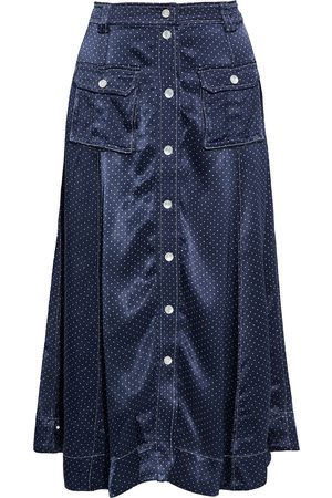 Ganni Woman Polka-dot Satin Midi Skirt Navy Size 32