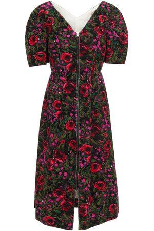Marni Women Printed Dresses - Woman Floral-print Cotton-blend Faille Midi Dress Size 40