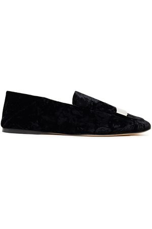 Sergio Rossi Woman Embellished Crushed-velvet Collapsible-heel Loafers Size 38