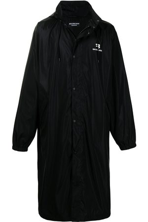 Balenciaga Logo-print drawstring-hood raincoat