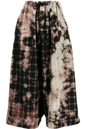 Y'S Check print bleached trousers