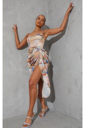 PRETTYLITTLETHING Women Corsets - Multi Marble Print Satin Ruched Skirt Corset Detail Midi Dress