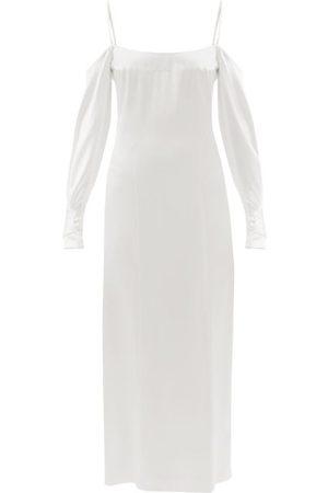 GALVAN Women Dresses - Valencia Off-the-shoulder Silk-satin Dress - Womens