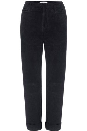 Frame Le Tomboy High-rise Suede Trousers - Womens