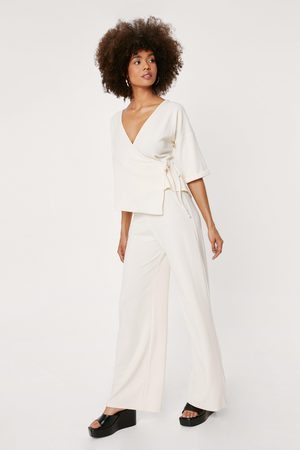 NASTY GAL Women Wrap Tops - Womens Ribbed V Neck Wrap Tie Side Top