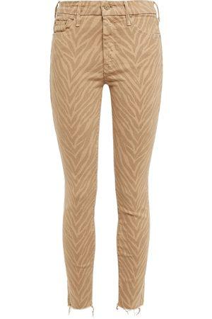 Mother Women Slim - Woman Cropped Tiger-print Mid-rise Slim-leg Jeans Sand Size 25