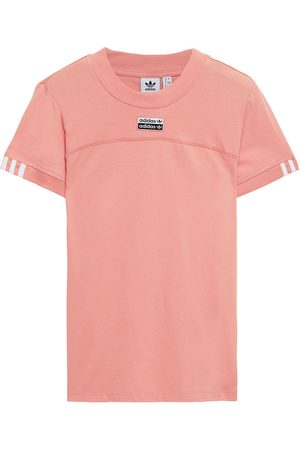 adidas Woman Embroidered Cotton-jersey T-shirt Antique Rose Size 28