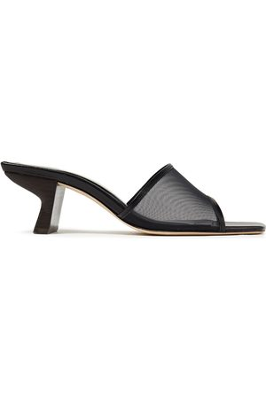 By Far Woman Lily Leather-trimmed Mesh Mules Size 35