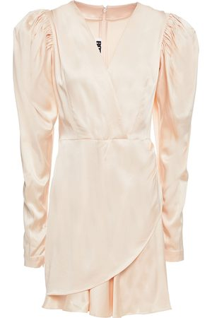 ROTATE Woman Aiken Wrap-effect Gathered Satin Mini Dress Blush Size 32