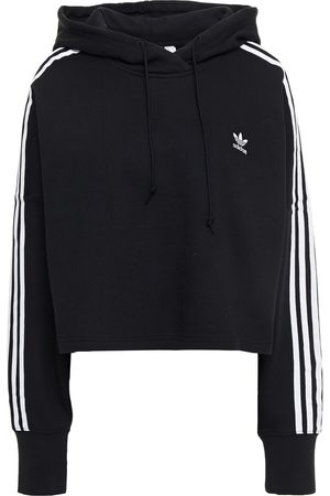 ADIDAS ORIGINALS Woman Cropped French Cotton-terry Hoodie Size 32
