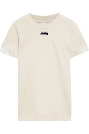 adidas Woman Embroidered Cotton-jersey T-shirt Ecru Size 28