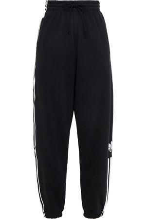 adidas Woman Striped Cotton-blend Fleece Track Pants Size 30