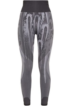 adidas Woman Jacquard-knit Leggings Anthracite Size XS
