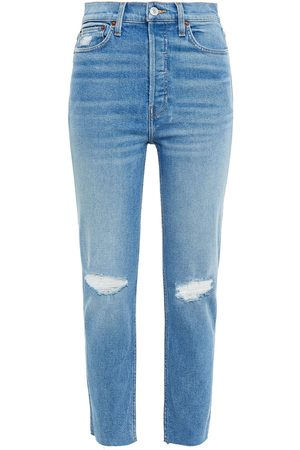 RE/DONE Woman Cropped High-rise Skinny Jeans Mid Denim Size 26