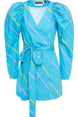 ROTATE Woman Bridget Striped Cotton-poplin Mini Wrap Dress Turquoise Size 32
