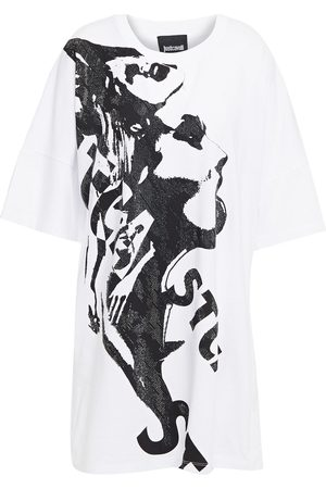 Roberto Cavalli Woman Crystal-embellished Printed Cotton-jersey T-shirt Size L